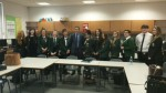 DOING A Q&A WITH ADVANCED HIGHER MODERN STUDIES PUPILS AT ST MUNGO'S WITH PUPILS FROM ACROSS FALKIRK DISTRICT