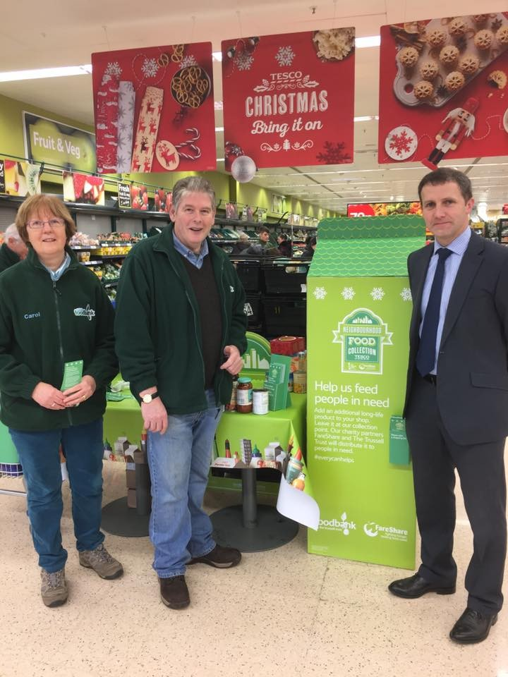Helping at the Fakirk Foodbank collection at Tesco at the Central Retail Park