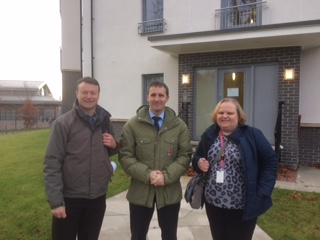 Visit to new social housing development at Paton Dr, Larbert