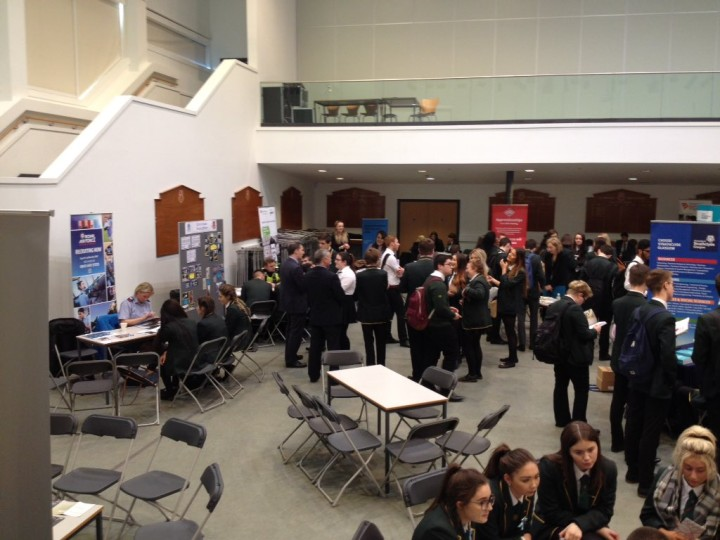 Speaking to pupils at St Mungo's High School Careers Fayre