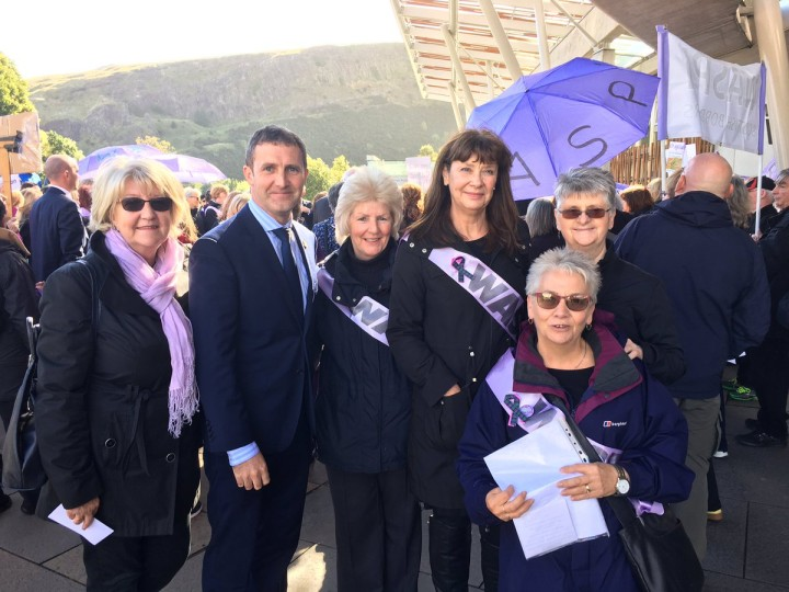 Attending with constituents the Waspi demonstration at Parliament
