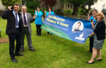 Michael Matheson and John McNally join staff at Strathcarron Hospice to support their Lottery Awards campaign
