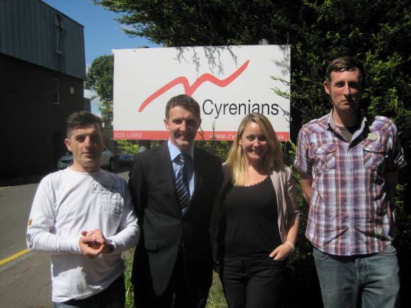 MEETING THE STAFF AT THE NEW CYRENIANS OFFICE IN WELLSIDE PLACE, FALKIRK