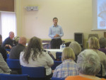 MICHAEL SPEAKING AT THE FALKIRK BRANCH OF HEADWAY ON THE LAUNCH OF THEIR DVD AT BAINSFORD COMMUNITY CENTRE