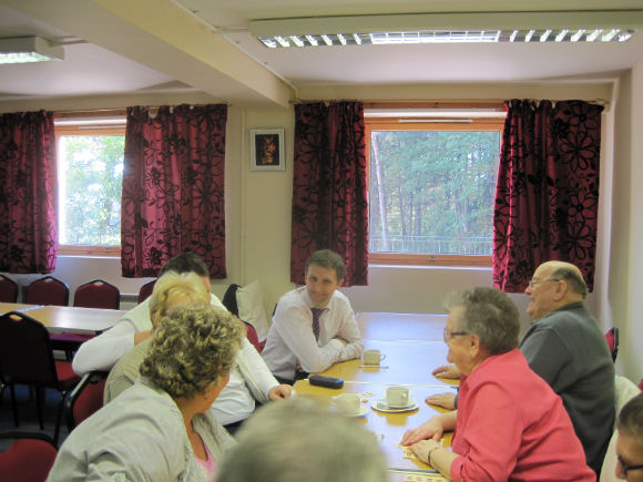 MICHAEL HOSTING A COFFEE MORNING AT PARKFOOT COURT FALKIRK