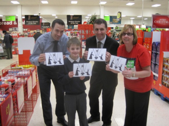 Meeting Alastair Small of Larbert Village Primary who won my Christmas card competition