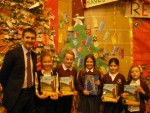 Presenting prizes to pupils of Comely Park Primary as part of Scottish Book Week