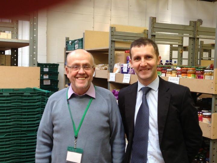 Michael meeting Alf Collington at the Falkirk Foodbank in Tamfourhill