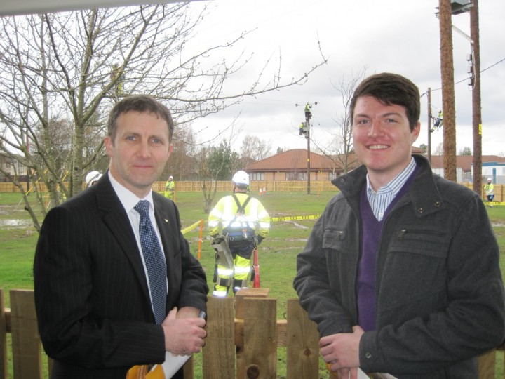 Michael at the opening of the overhead lines technicial training at Forth Valley College