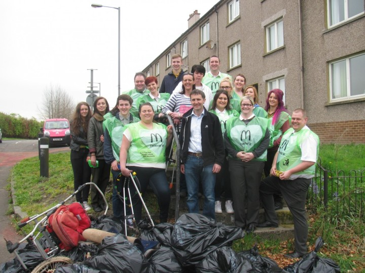 HELPING WITH THE LITTER PICK AT LANGLEES