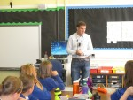 Answering questions from pupils at Bantaskin Primary School, Falkirk