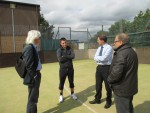 Meeting Conor Wallace and local councillors to discuss the football pitch at the Denny Sports Centre