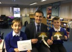 Lewis and Sean from St Andrews Primary , winners of my Christmas Card  competition