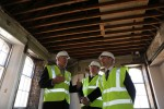Michael and Angus MacDonald meet Alistair Campbell at The Hub development in Weir Street, Falkirk