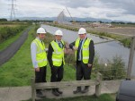 Michael with Falkirk East MSP Angus MacDonald and Mike King from The Helix at The Kelpies, part of The Helix Project
