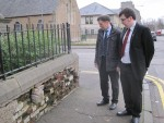 Inspecting The Manor Wall at Brown Street, Camelon with Cllr Colin Chalmers