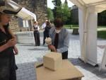 Michael tries his hand at stonemasonary during Scottish Modern Apprentice week at Falkirk Trinity Church