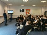 Question and answer session at Denny High